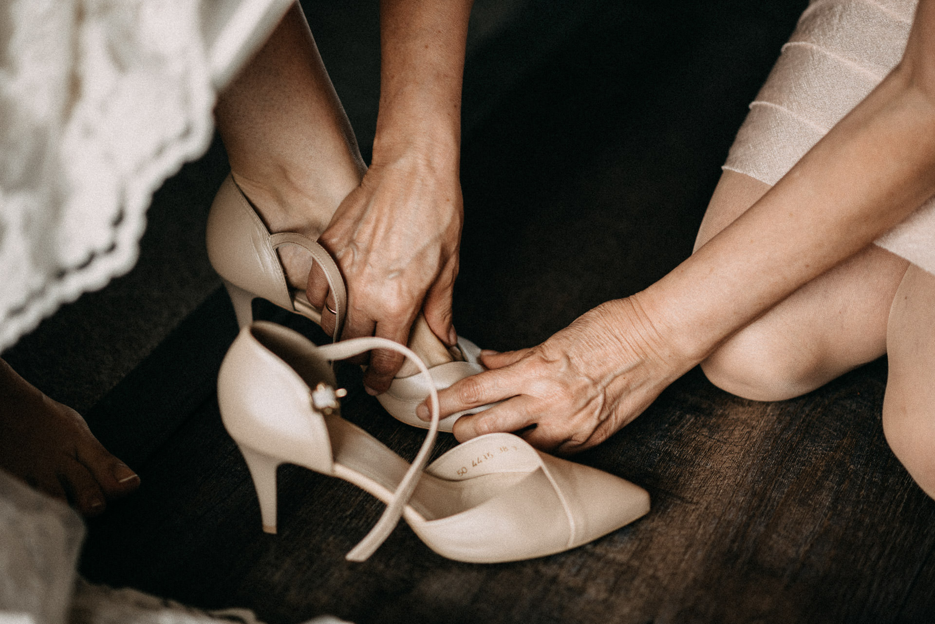 getting ready shoes bride